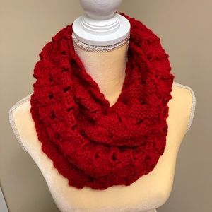 Chunky Knit Red Infinity Scarf NWOT